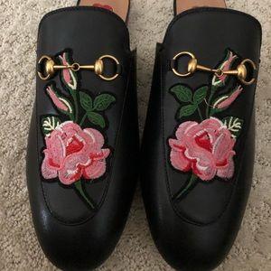 Floral Black Leather Slides Loafers